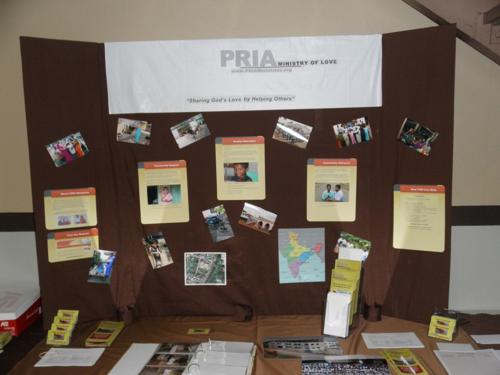 This is the booth Liz set up for PRIA Ministries